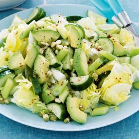 Рецепт зеленого салата с огурцами